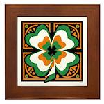 GRN-WHT-ORG SHAMROCKS 1 Framed Tile