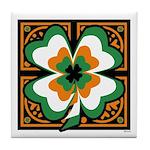 GRN-WHT-ORG SHAMROCKS 1 Tile Coaster