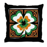GRN-WHT-ORG SHAMROCKS 1 Throw Pillow