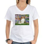 Lilies & fawn Papillon Women's V-Neck T-Shirt