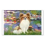 Lilies & fawn Papillon Sticker (Rectangle)