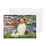 Lilies & fawn Papillon Greeting Cards (Pk of 20)