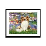 Lilies & fawn Papillon Framed Panel Print