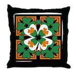 GRN-WHT-ORG SHAMROCKS 2 Throw Pillow