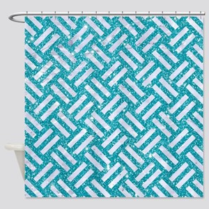 WOVEN2 WHITE MARBLE & TURQUOISE GLI Shower Curtain