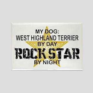 West Highland Terrier Rock Star Rectangle Magnet