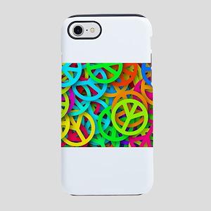 Neon Rainbow Peace Sign Pile iPhone 8/7 Tough Case