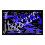 Jazz Blue on Blue Rectangle Sticker