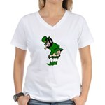 Mooning Leprechaun Women's V-Neck T-Shirt