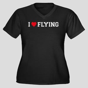I Love Flying Women's Plus Size V-Neck Dark T-Shir