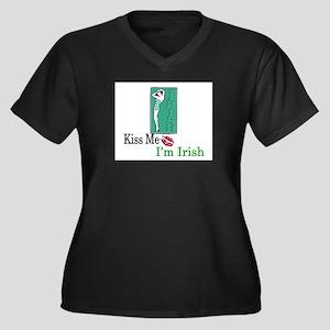 Kiss Me, I'm Irish Women's Plus Size V-Neck Dark T