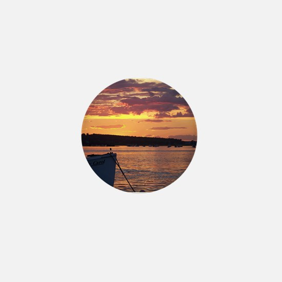 Maine Lobster Boat Sunset Mini Button