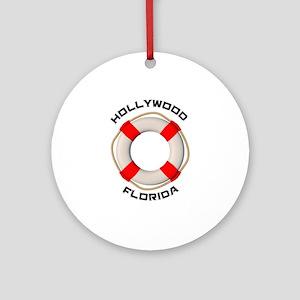 Florida - Hollywood Round Ornament