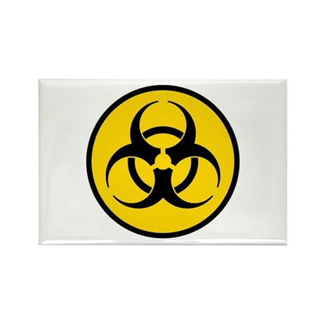 Yellow Biohazard Symbol Rectangle Magnet