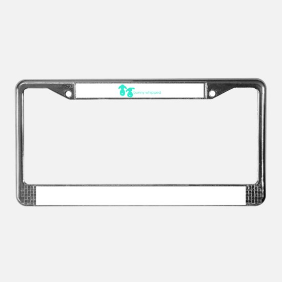 bunny whipped aqua License Plate Frame