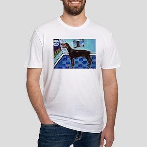 DOBERMAN PINSCHER art Fitted T-Shirt