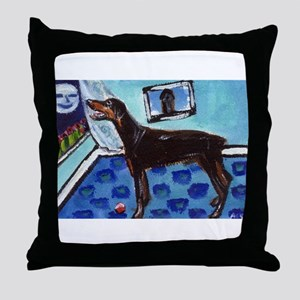 DOBERMAN PINSCHER art Throw Pillow