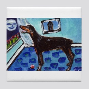 DOBERMAN PINSCHER art Tile Coaster