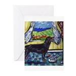 hungry ROTTWEILER begs Greeting Cards (Package of