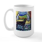 hungry ROTTWEILER begs Large Mug