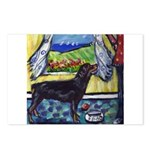hungry ROTTWEILER begs Postcards (Package of 8)