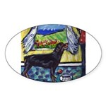 hungry ROTTWEILER begs Oval Sticker