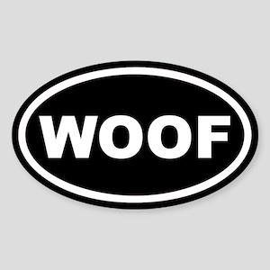 WOOF Black Euro Oval Sticker