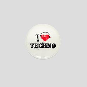 I love techno Mini Button