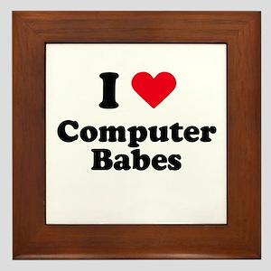I love computer babes Framed Tile