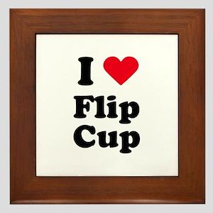 I love flip cup Framed Tile