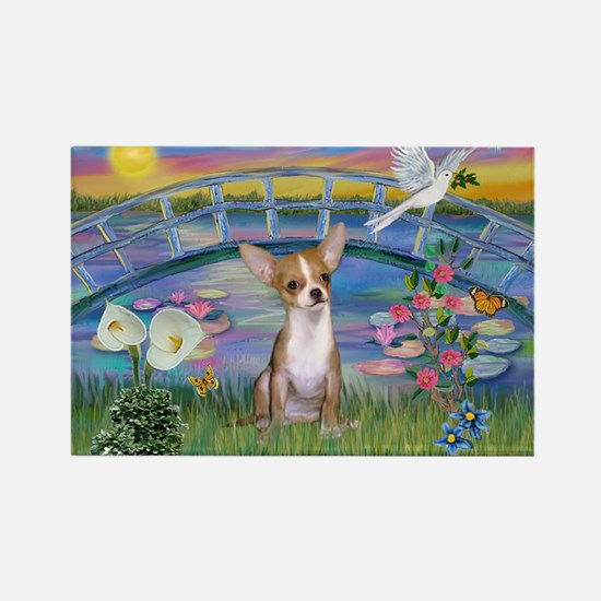 Lilies/Chihuahua Rectangle Magnet