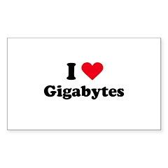 I love gigabytes Rectangle Decal