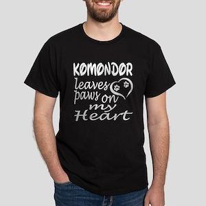 Komondor Dog Leaves Paws on My Heart Dark T-Shirt