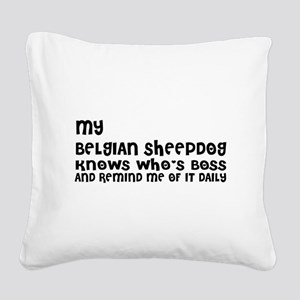My Belgian Sheep Dog Designs Square Canvas Pillow