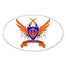 Raj Karega Khalsa. Oval Sticker
