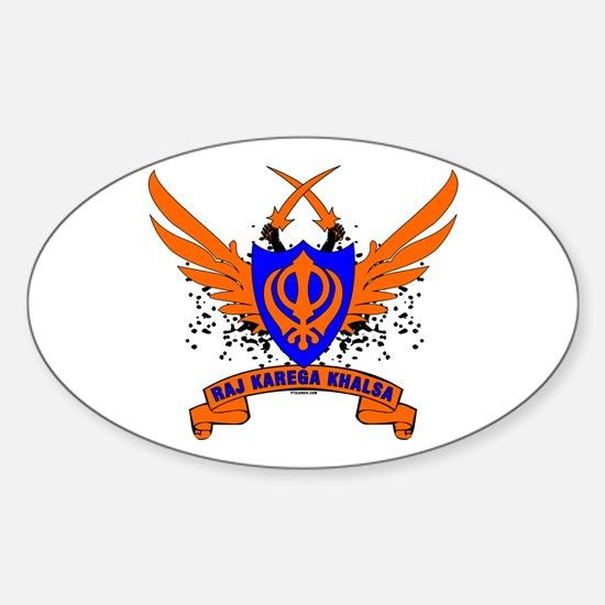Raj Karega Khalsa. Oval Decal