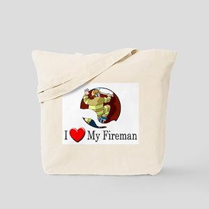 I Love My Fireman Tote Bag