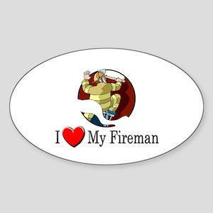 I Love My Fireman Oval Sticker