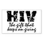 HIV The gift that keeps on gi Sticker (Rectangular