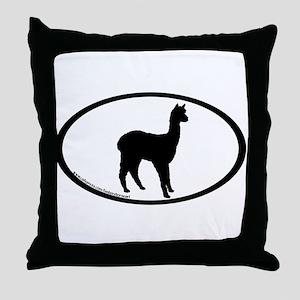 standing alpaca oval Throw Pillow