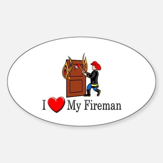 I Love My Fireman Oval Decal