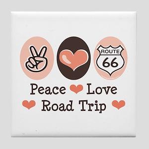 Peace Love Route 66 Road Trip Tile Coaster
