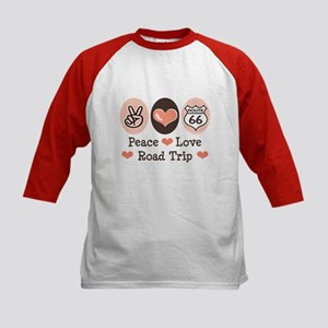 Peace Love Route 66 Road Trip Kids Baseball Jersey