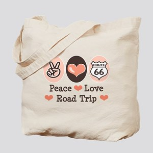 Peace Love Route 66 Road Trip Tote Bag