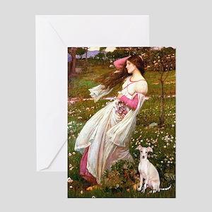 Windflowers / Ital Greyhound Greeting Card