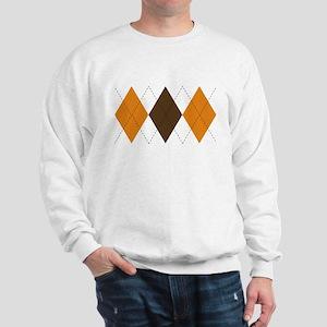 Orange and Brown Argyle Sweatshirt