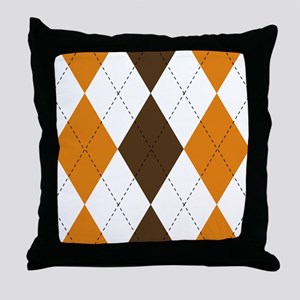 Orange and Brown Argyle Throw Pillow