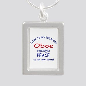 Oboe is my religion Silver Portrait Necklace
