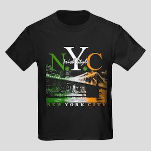N.Y.C Skyline Irish Style Kids Dark T-Shirt