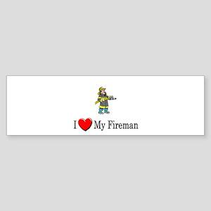 I Love My Fireman Bumper Sticker